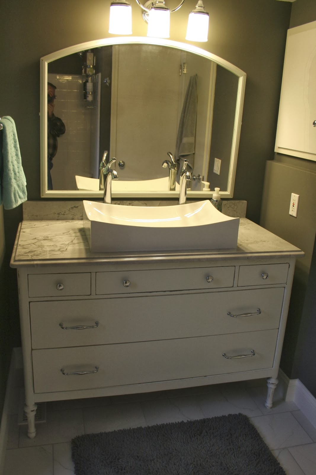 Dresser Turned Bathroom Vanity Tutorial: Simple Redesign: DRESSER TURNED BATH