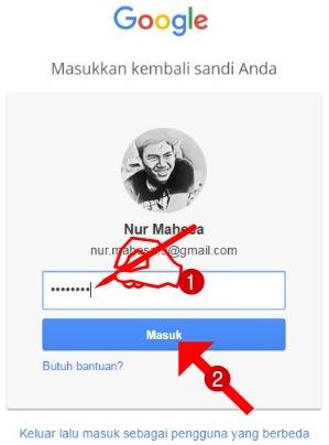 Masukkan Kembali sandi Email Gmail