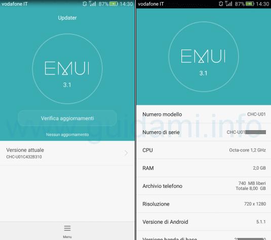Huawei G Play Mini schermata Updater e info tel EMUI 3.1