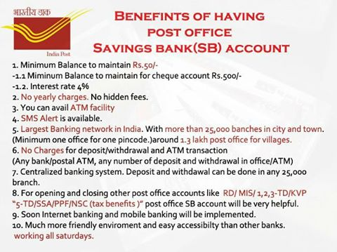 Benefits of having post office savings bank sb account sa post - Post office savings rates ...