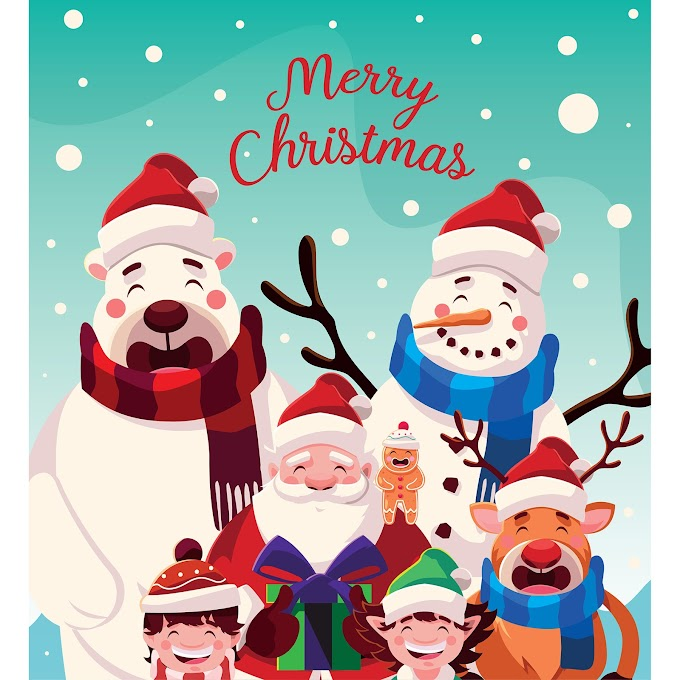 Best Merry Christmas, Funny christmas illustration free vector