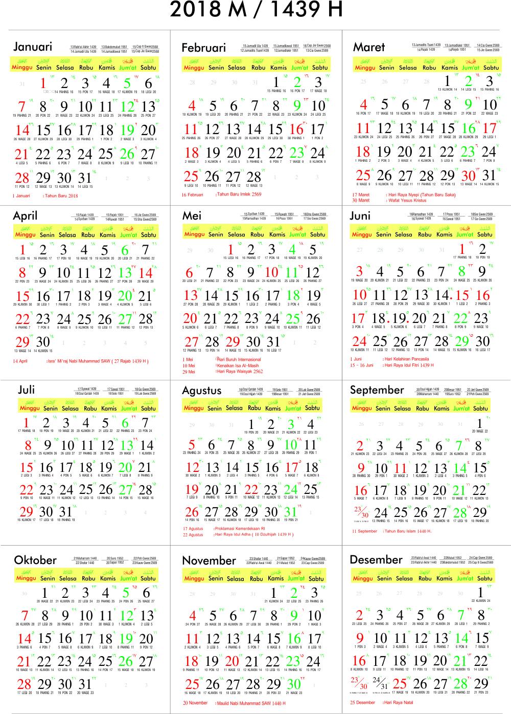 Download Desain Kalender 2019 Cdr