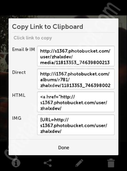 pilihan link share photo di photobucket - catatandroid