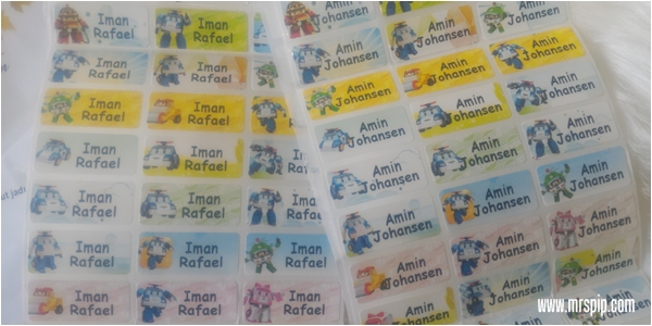 Buat sticker nama untuk anak-anak