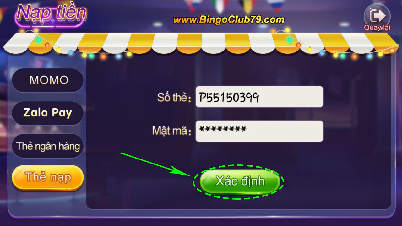 Xác định nhập Code Bingo Club