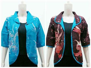 Model Baju Batik Kombinasi Bolero Lengan Pendek