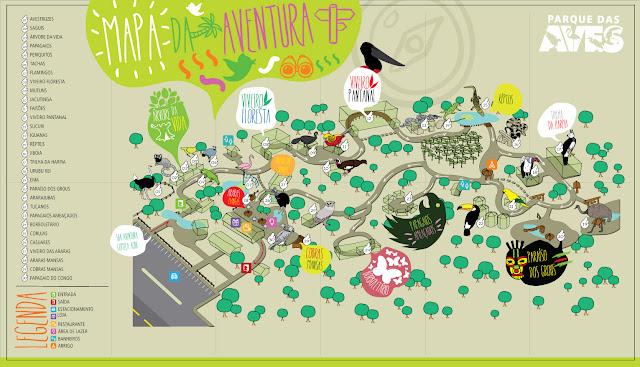 Mapa do parque das aves