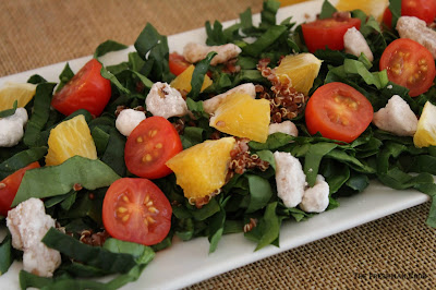 spinach, quinoa, oranges, tomato, candied walnuts