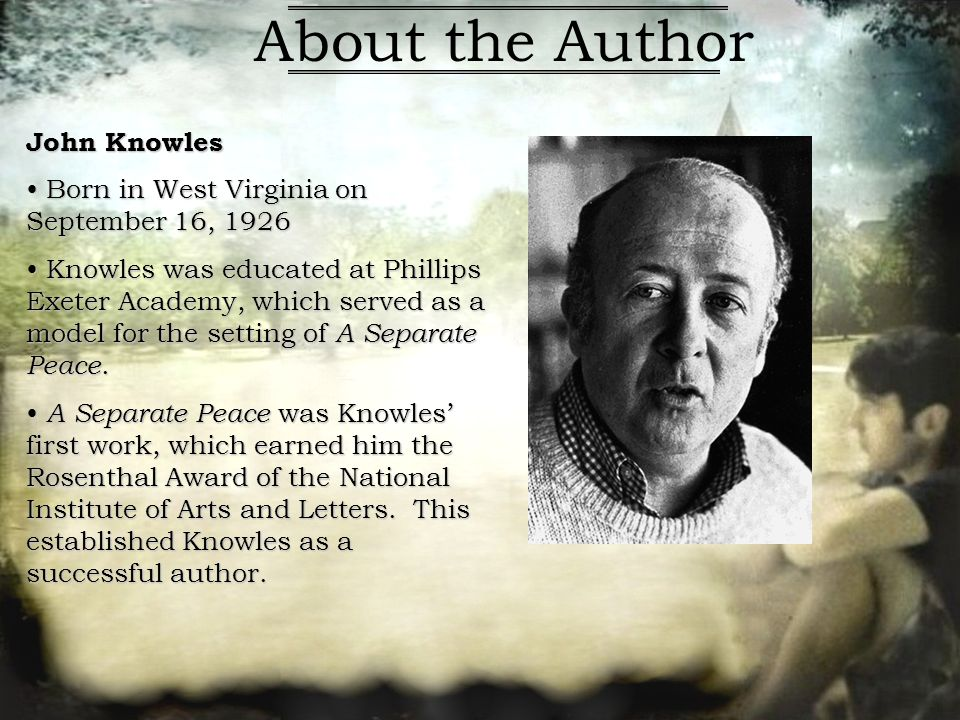 antithesis in a separate peace A separate peace by john knowles (82, 07) break the issue or problem into separate parts and discuss, examine, or interpret chiasmus/antithesis a sentence strategy in which the arrangement of ideas in the second clause is a reversal of the first: eg, ask not what your country can do for you ask what you can do.