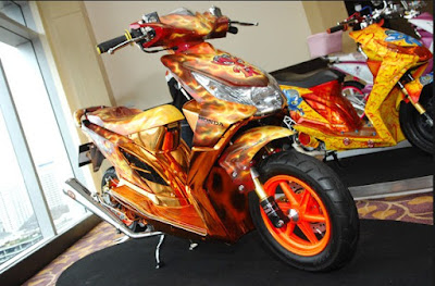Modifikasi Honda Beat Full Airbrush Coklat