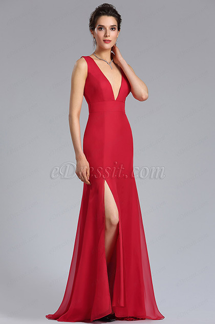 Site of Red Sexy A-Line Bridesmaid Dress Evening Gown