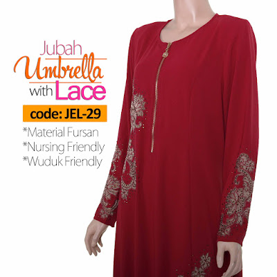 Jubah Umbrella Lace JEL-29 Red Depan 6