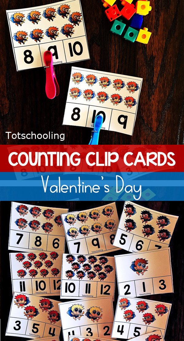 FREE printable Valentine's Day themed clip cards for preschoolers to practice counting, fine motor skills and number recognition.