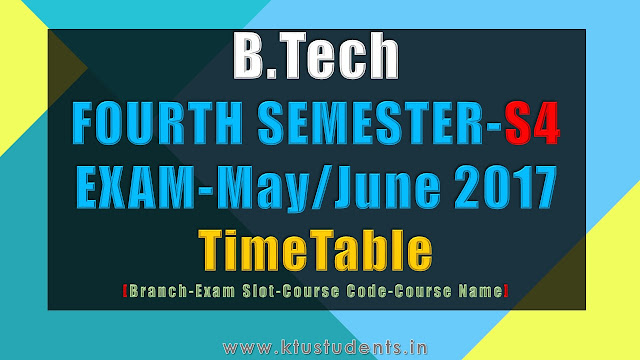 B.Tech S4 Examination May/June 2017-Time Table