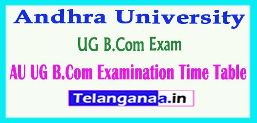 AU Andhra University UG B.Com Examination Time Table 2018