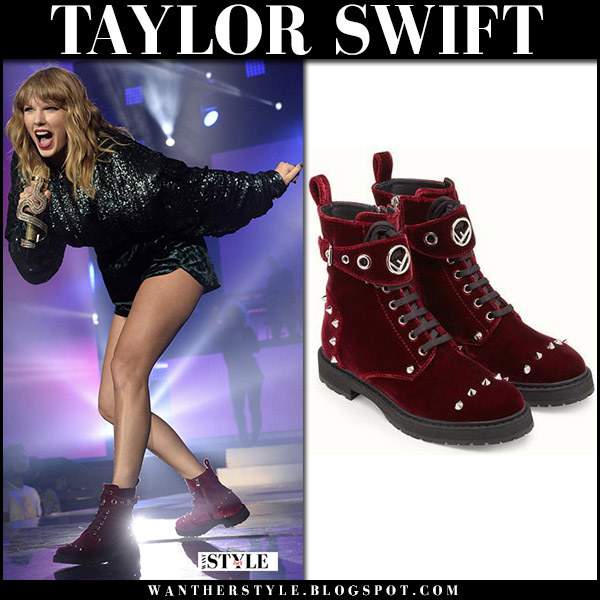 Taylor Swift in burgundy studded velvet biker boots fendi winter fashion december 2017