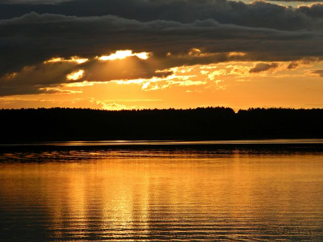 kolory, chmury, las, jezioro, Niesłysz
