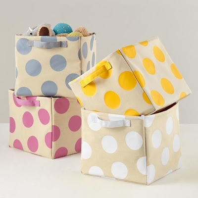 storage bins with polka dots
