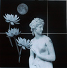 The Mythic Yoga Studio - Sydney Solis original Collage The Goddess and The Moonflowers Copyright 1990