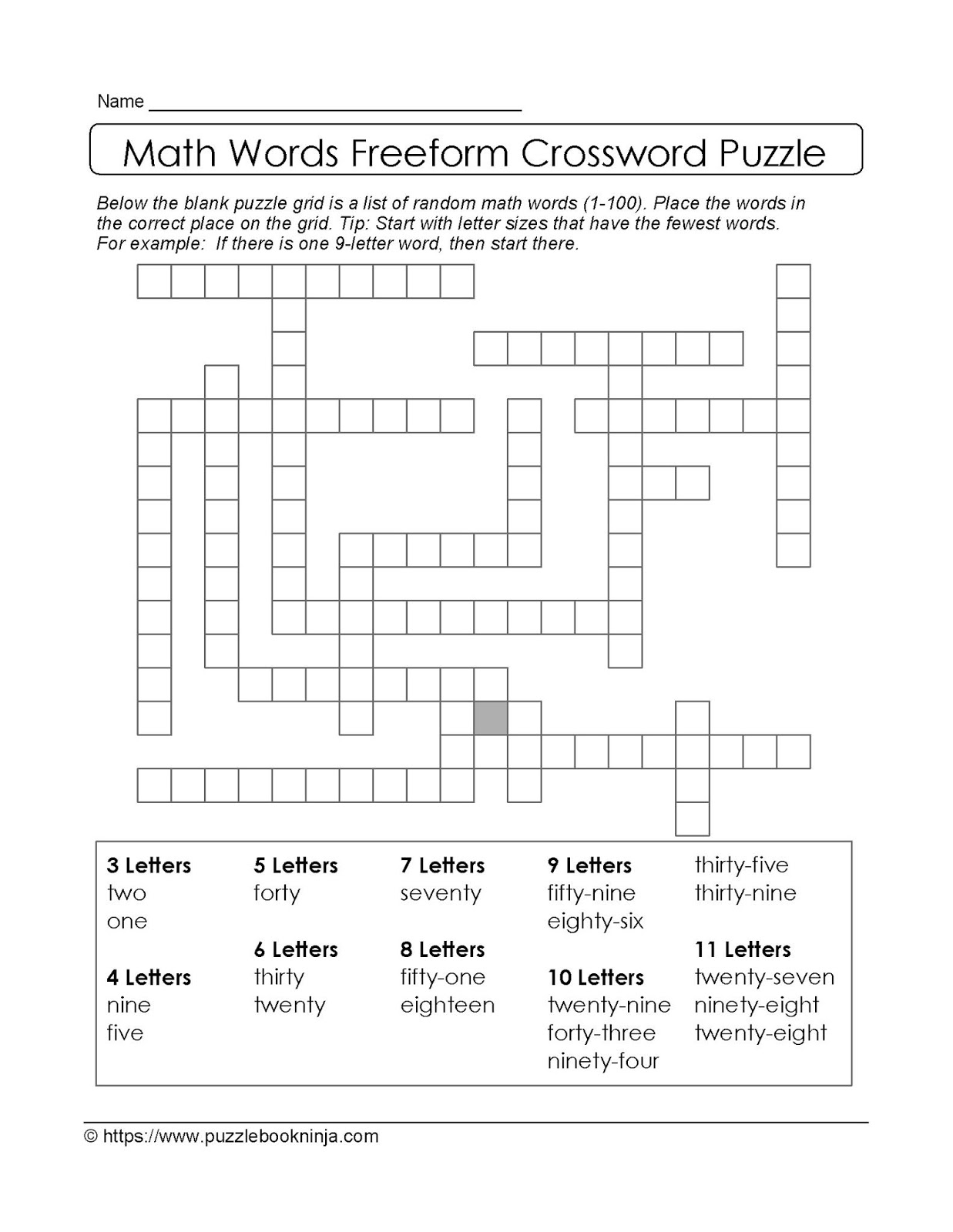 Crossword Fill In 01 Answers