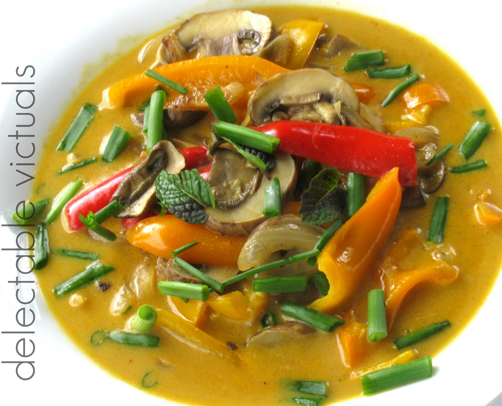 tri-color peppers mushroom cremini coconut soup