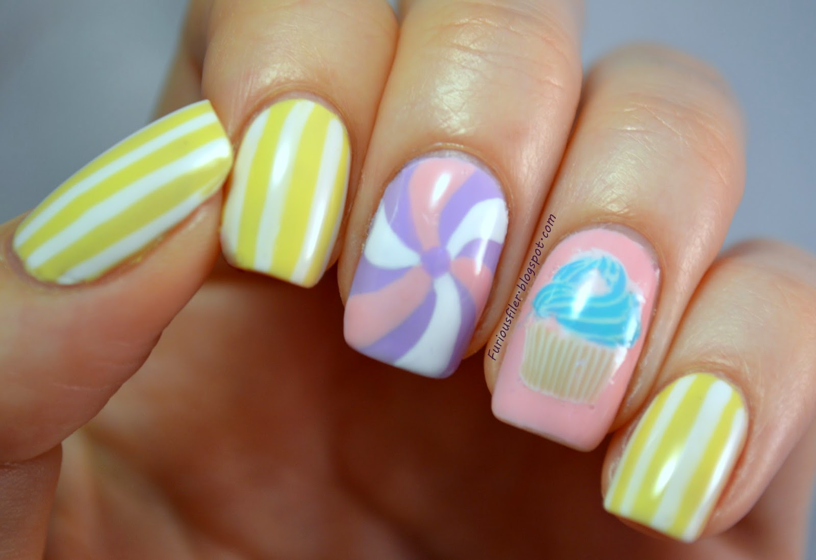 pastel cupcake cute stripes candy nailart