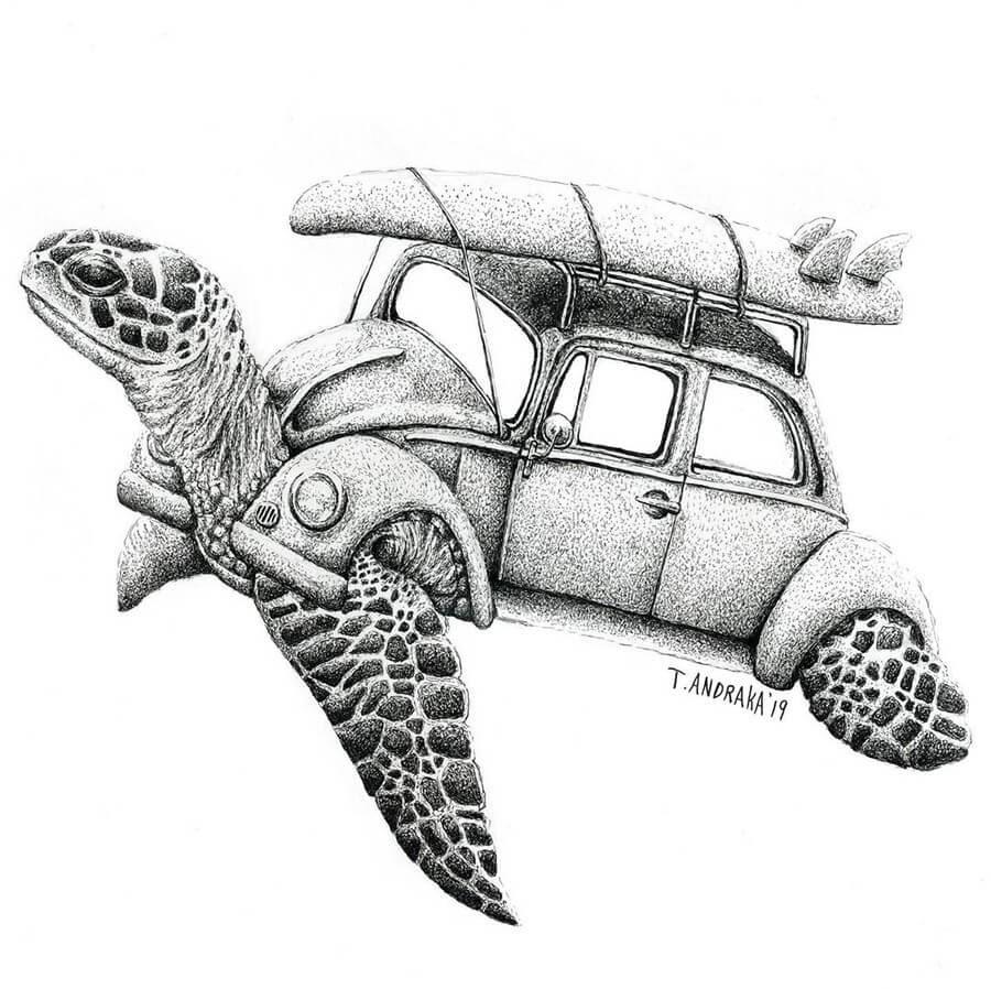 02-A-Turtle-s-Surfing-Weekend-Tim-Andraka-Funny-Animals-www-designstack-co