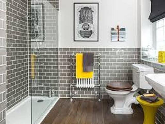 Phòng tắm đẹp với điểm nhấn sàn ốp gạch