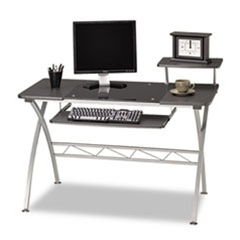 Contemporary Glass Computer Desk with Metal Frame