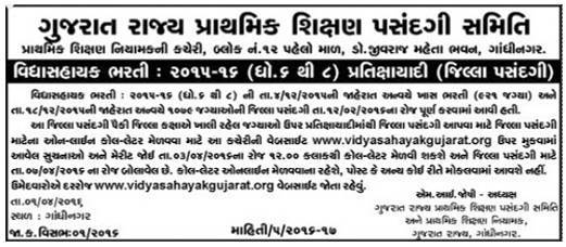 Vidhyasahayak Bharti 2015-16 (Std. 6 to 8) Waiting List Notification