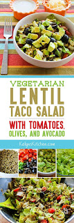 Vegetarian Lentil Taco Salad with Tomatoes, Olive, and Avocado found on KalynsKitchen.com