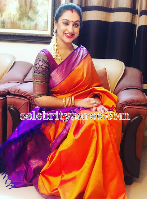 Preeta Bright Orange Silk Sari