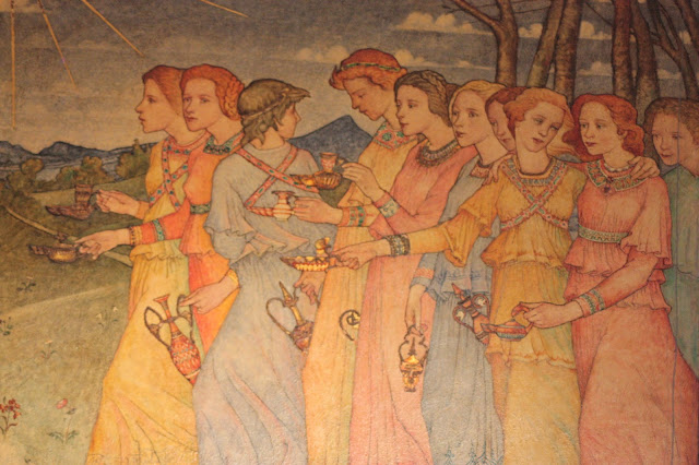 A panel from the Mansfield Place Church in Edinburgh, Scotland, depicting The Parable of the Wise and Foolish Virgins by Phoebe Traquair (1895)