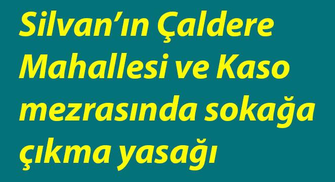 Silvan'ın Çaldere Mahallesi ve Kaso mezrasında sokağa çıkma yasağı