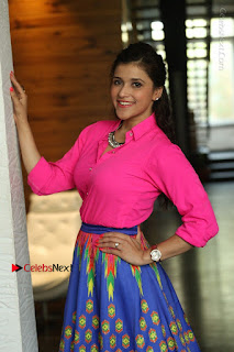 Actress Mannar Chopra in Pink Top and Blue Skirt at Rogue movie Interview  0045.JPG