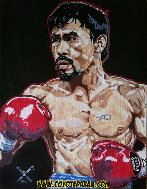 "Manny Pacquiao, 11"" X 14"" watercolor and ink on cold press paper. Boxing art by Coyote Duran"