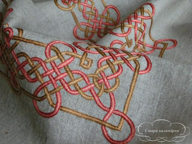 вышивка гладью, стебельчатый шов, подушка с вышивкой, итальянская вышивка