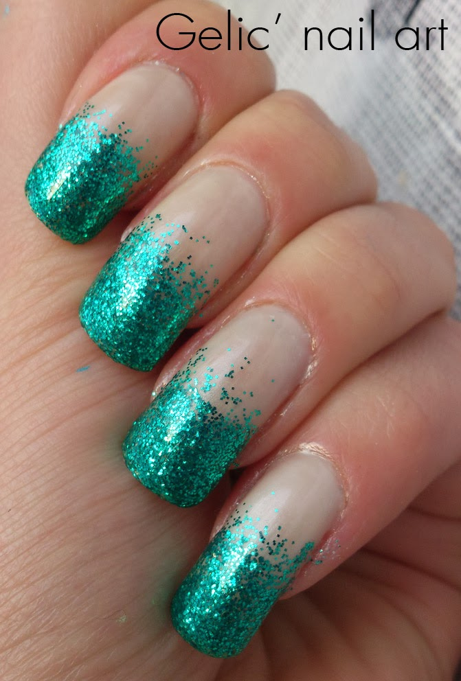 Gradient French Manicure: Green Dazzle, Glitter Gradient Funky