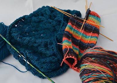 OTN Pebble Beach shawl and Falling For You hand knit socks