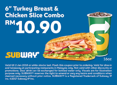 "Subway Voucher: 7"" Turkey Breast & Chicken Slice Combo RM10.90"