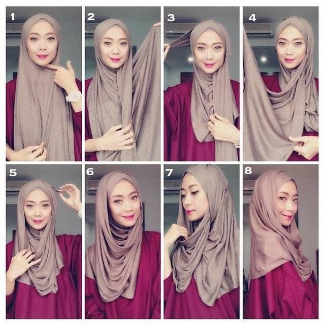 tutorial hijab pashmina untuk wajah bulat