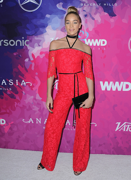 Jasmine Sanders in Red Lace Jumpsuit