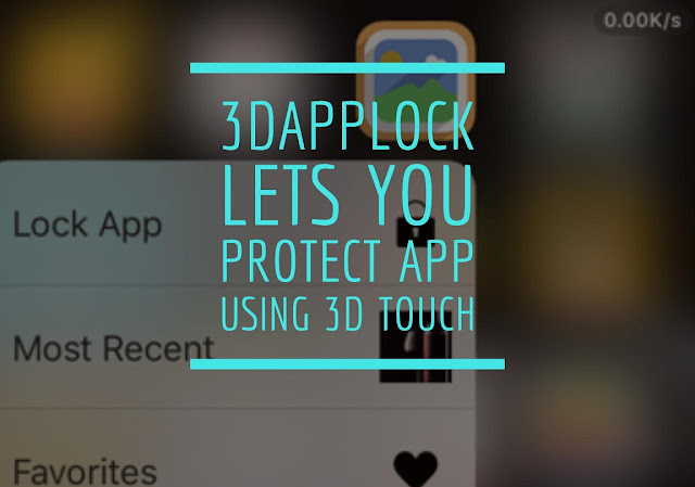 A new cydia tweak is released in Cydia named as 3DAppLock that lets you protect apps and secure it from needy eyes using 3D Touch directly on HomeScreen. 3DAppLock allows you to simply Force Touch any icon