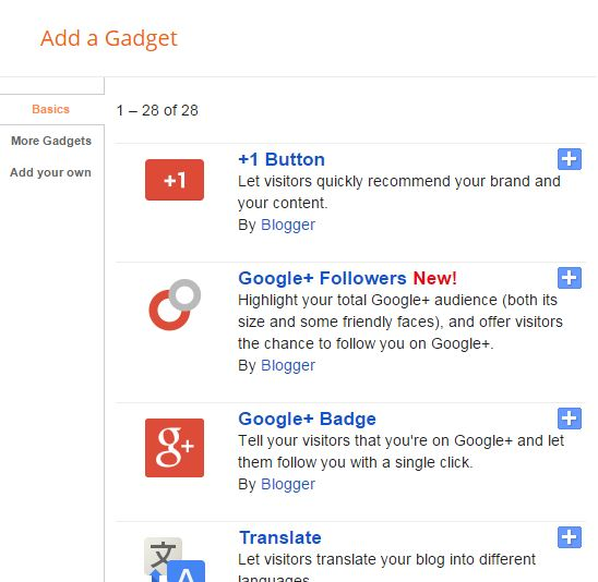 widget blogger gadget