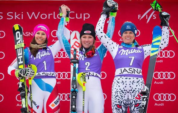 Slalom Jasná - 1.Shiffrinová, 2.Holdenerová, 3.Velez-Zuzulová