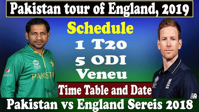 Pakistan tour of England 2019 Schedule, Squads |  Eng vs Pak 2019 Team Captain and Players ESPNcricinfo, Cricbuzz, Wikipedia, England vs Pakistan International Matches Time Table.