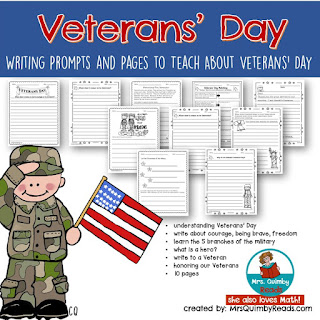 november teaching resources, veterans' day, writing prompts, primary grades