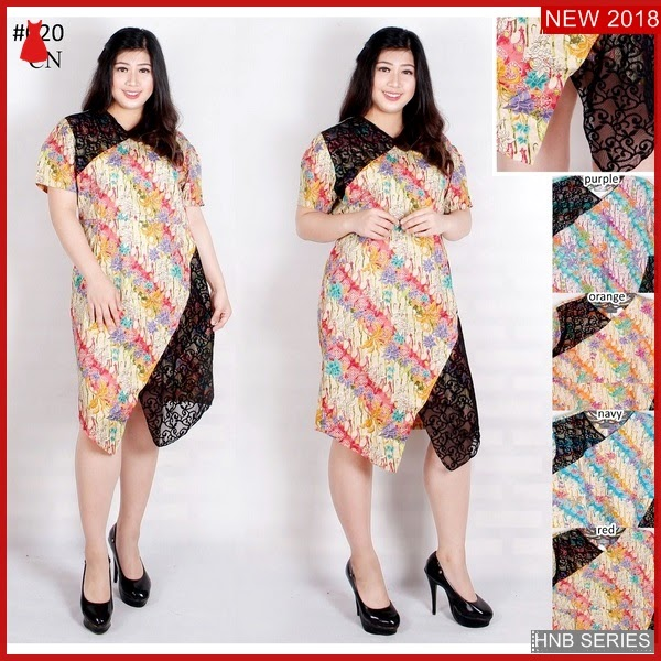 HNB089 Model Lulu Dress Brokat Ukuran Besar Jumbo BMG Shop