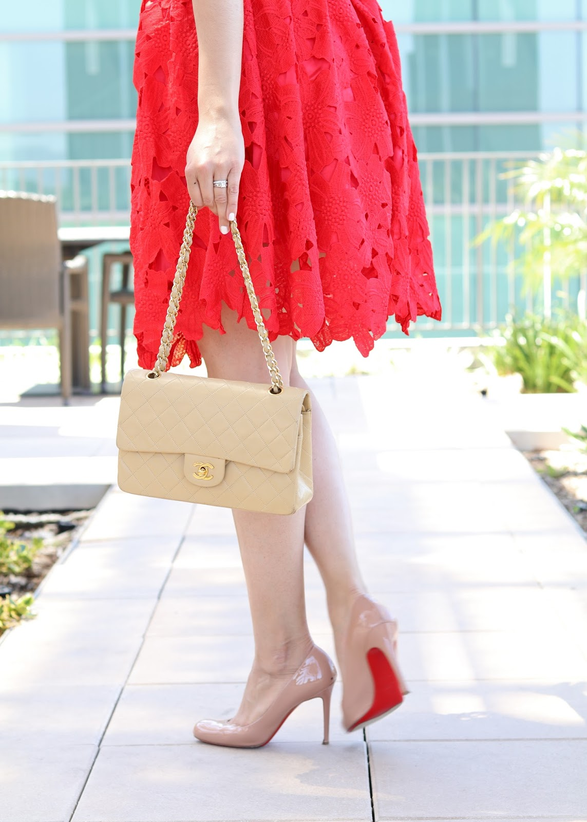 Red Dress with Nude Heels, How to wear nude shoes, louboutin outfit, beige chanel bag, designer vault chanel bags, designer vault blogger
