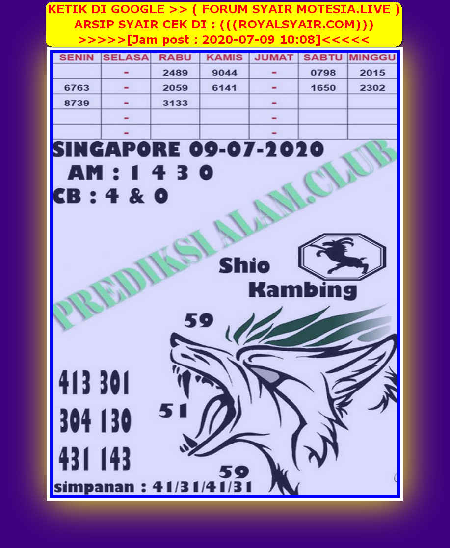 Kode syair Singapore Kamis 9 Juli 2020 160